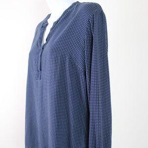 Tommy Hilfiger long sleeve blouse blue mint dots